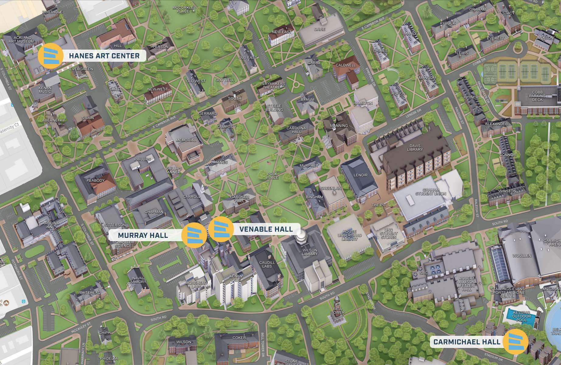 Unc Chapel Hill Campus Map locations |