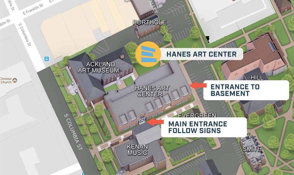 Detailed directions to Hanes Art Center